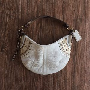 Coach cream leather small hobo shoulder bag